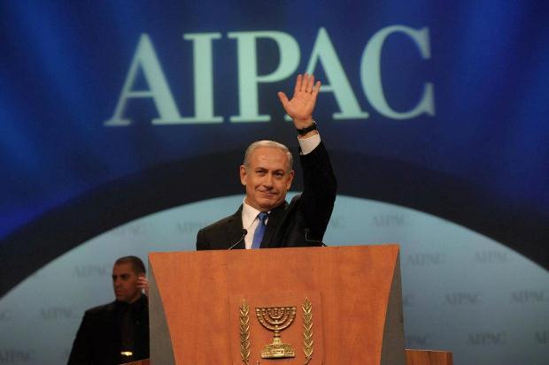 """ראש הממשלה בנימין נתניהו מדבר בכנס של השדולה הפרו-ישראלית אייפק בוושינגטון (תמונה: עמוס בן גרשום / לע""""מ)"""