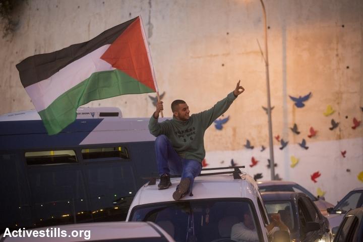 דגל פלסטין בשביתה באום אלפחם, 2014 (אורן זיו / אקטיבסטילס)