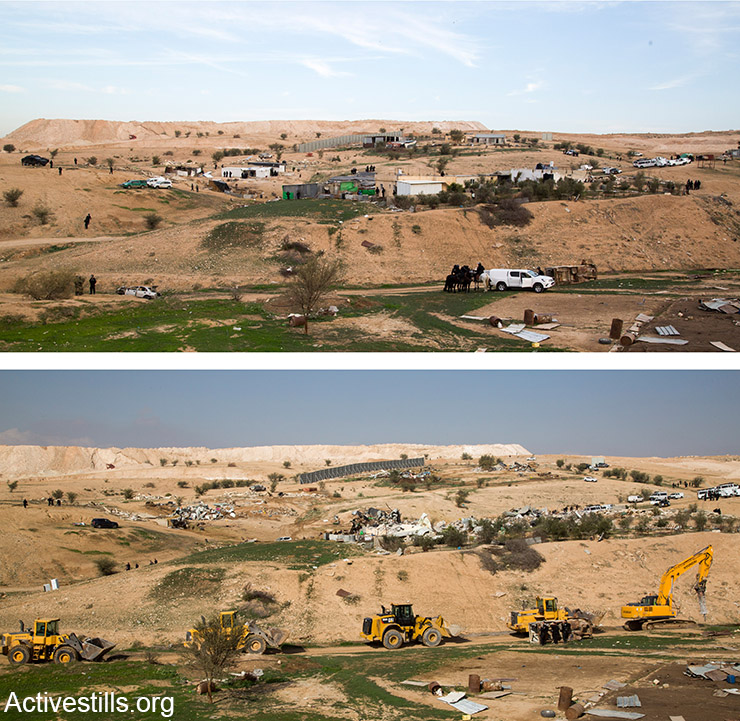 אום אל חיראן- כמה שעות לוקח לשטח כפר? מבט לפני ואחרי ההריסה, 18 בינואר 2017 (קרן מנור/אקטיבסטילס)