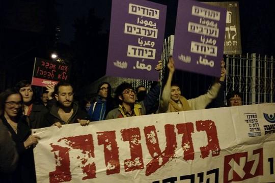 גם הם בין נרדפי בנט. הפגנת תמיכה בגלריית ברבור בירושלים בעת הרצאת שוברים שתיקה (אורלי נוי)