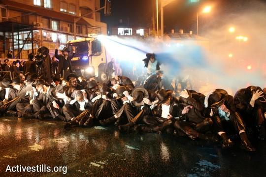 הפגנה נגד מאסרם של עריקים חרדים. ירושלים, 23 במרץ 2017 (אורן זיו/אקטיבסטילס)