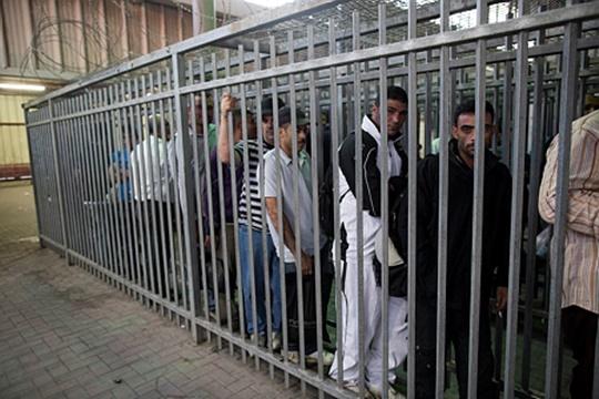 """פלסטינים בעלי היתר כניסה לישראל ב""""כלוב"""" במחסום קלנדיה (יונתן זינדל/ פלאש90)"""