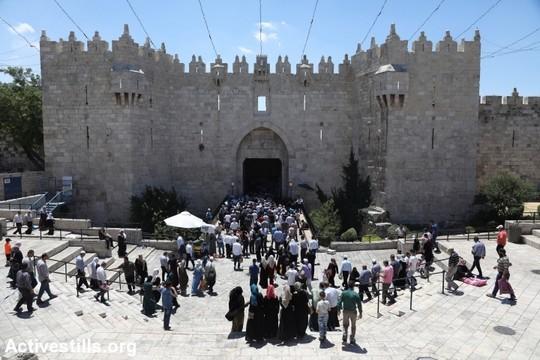 מאמינים פלסטינים נכנסים לעיר העתיקה בירושלים דרך שער שכם ביום השישי האחרון של הרמדאן. 23 ביוני 2017. (צילום: היידי מוטולה/אקטיבסטילס)