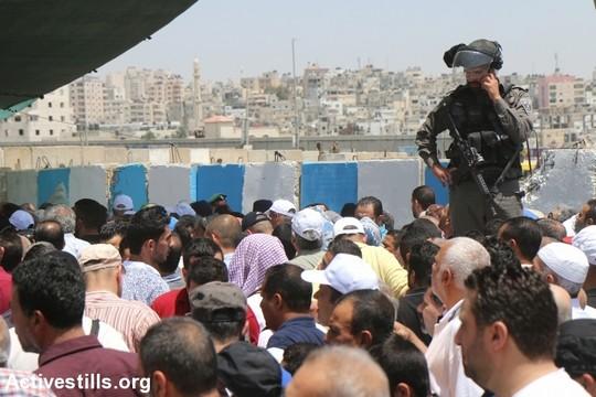 פלסטינים מהגדה המערבית חוצים דרך מחסום קלנדיה בדרכם לתפילות יום השישי השני של הרמאדן במסגד אל אקצא בירושלים. 6 ביוני 2017 (צילום: אחמד אל-באז/אקטיבסטילס)