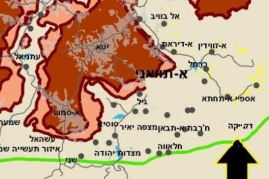 מפת האזור ומיקומו של הכפר דקייקה (רבנים לזכויות האדם)