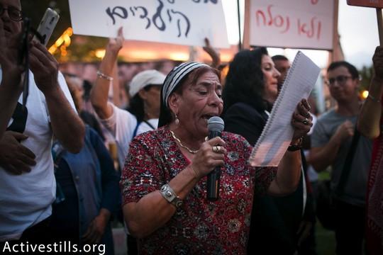 עדויות משפחות בהפגנה על פרשת ילדי תימן (שירז גרינבאום / אקטיבסטילס)