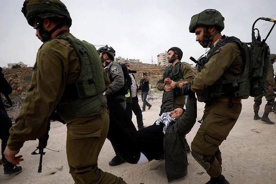 """ג'מיל ברגותי נעצר בהפגנה לשחרורן של נשות משפחת תמימי ב""""עופר"""" (צילום באדיבות PSCC)"""