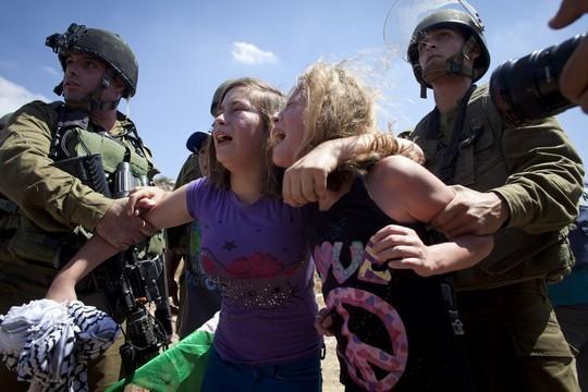 עאהד תמימי מנסה למנוע מחיילים לעצור את אמה נרימן במהלך הפגנה בנבי סאלח, אוגוסט 2012 (אקטיבסטילס)