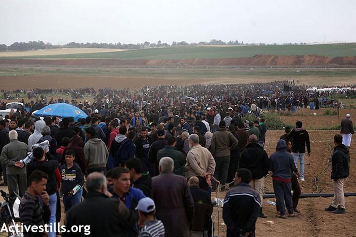 """מפגיני צעדת השיבה בגבול עזה. מפגן אי אלימות שמאיין את התירוץ שנקרא """"הטרור הפלסטיני"""" (מוחמד זאנון/אקטיבסטילס)"""
