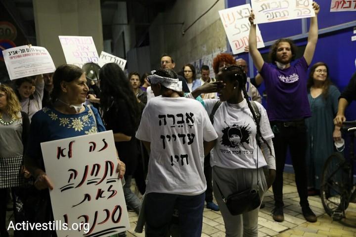 תושבים מדרום תל אביב מפגינים בקריאה לסגור את התחנה המרכזית החדשה. 24 באפריל 2018. (צילום: אורן זיו / אקטיבסטילס)