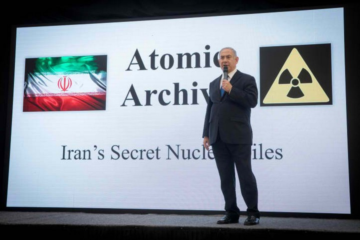 ראש הממשלה נתניהו בנאום חשיפת המסמכיפ שלטענתו מוכיחים שאיראן שיקרה בנוגע לתוכנית הגרעין שלה (מרים אלסטר / פלאש 90)
