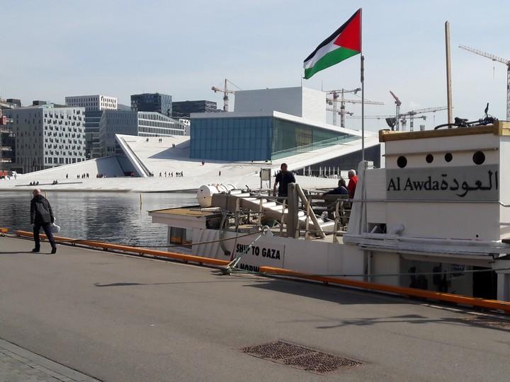 ספינת הדיג עאוודה בנמל באירופה. הכוונה הייתה להשאירה כתרומה לדייגי עזה.