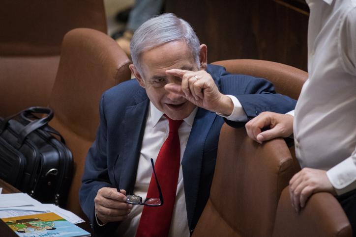 ראש הממשלה נתניהו במהלך הדיונים על חוק הלאום. החוק הזה שינה בפועל את הגדרת המשטר בישראל (צילום: הדס פרוש/פלאש90)