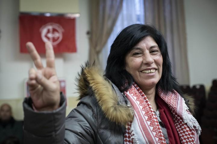 חברת הפרלמנט הפלסטני חאלדה ג'ראר משתחררת אחרי 20 חודשי מעצר מנהלי. 28 בפברואר 2019. (אורן זיו / אקטיבסטילס)