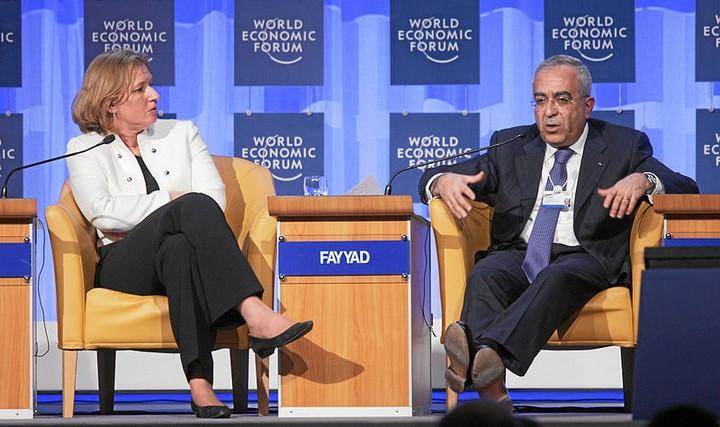 לבני כשרת החוץ עם ראש הממשלה דאז סלאם פיאד בפורום הכלכלי העולמי בדאבוס, ינואד 2008 (צילום: Andy Mettler, ויקימדיה, CC BY-SA 2.0)