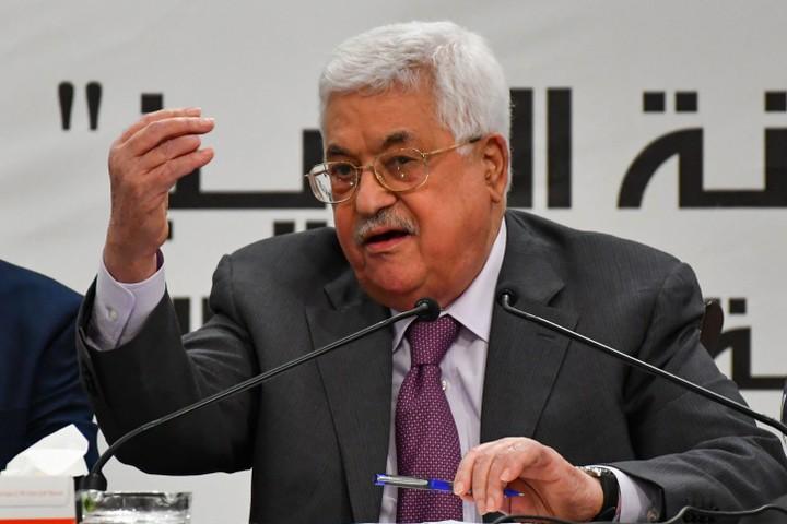 """יו""""ר הרשות הפלסטינית מחמוד עבאס בכנס ברמאללה. אפריל 2018 (פלאש 90)"""