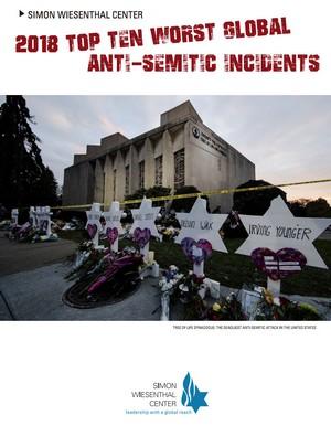 """עטיפת הדוח השנתי """"עשרת התקריות האנטישמיות החמורות ביותר לשנת 2018"""" מכון ויזנטל (צילום מסך)"""