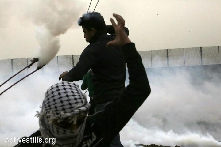 מפגינים פלסטינים בצעדות השיבה בעזה. יום האדמה ה-43. 30 במרץ 2019. (מוחמד זאנון / אקטיבסטילס)