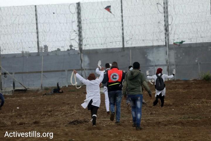 חובשים פלסטינים בצעדות השיבה בעזה. יום האדמה ה-43. 30 במרץ 2019. (מוחמד זאנון / אקטיבסטילס)