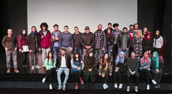 הסטודנטים בחוג לקולנוע - הרימו ביחד עם המרצים שלהם את הפסטיבל במו ידיהם. (באדיבות פסטיבל הקולנוע הבינלאומי לסטודנטים בבית לחם, מכללת דאר אלכלמה)