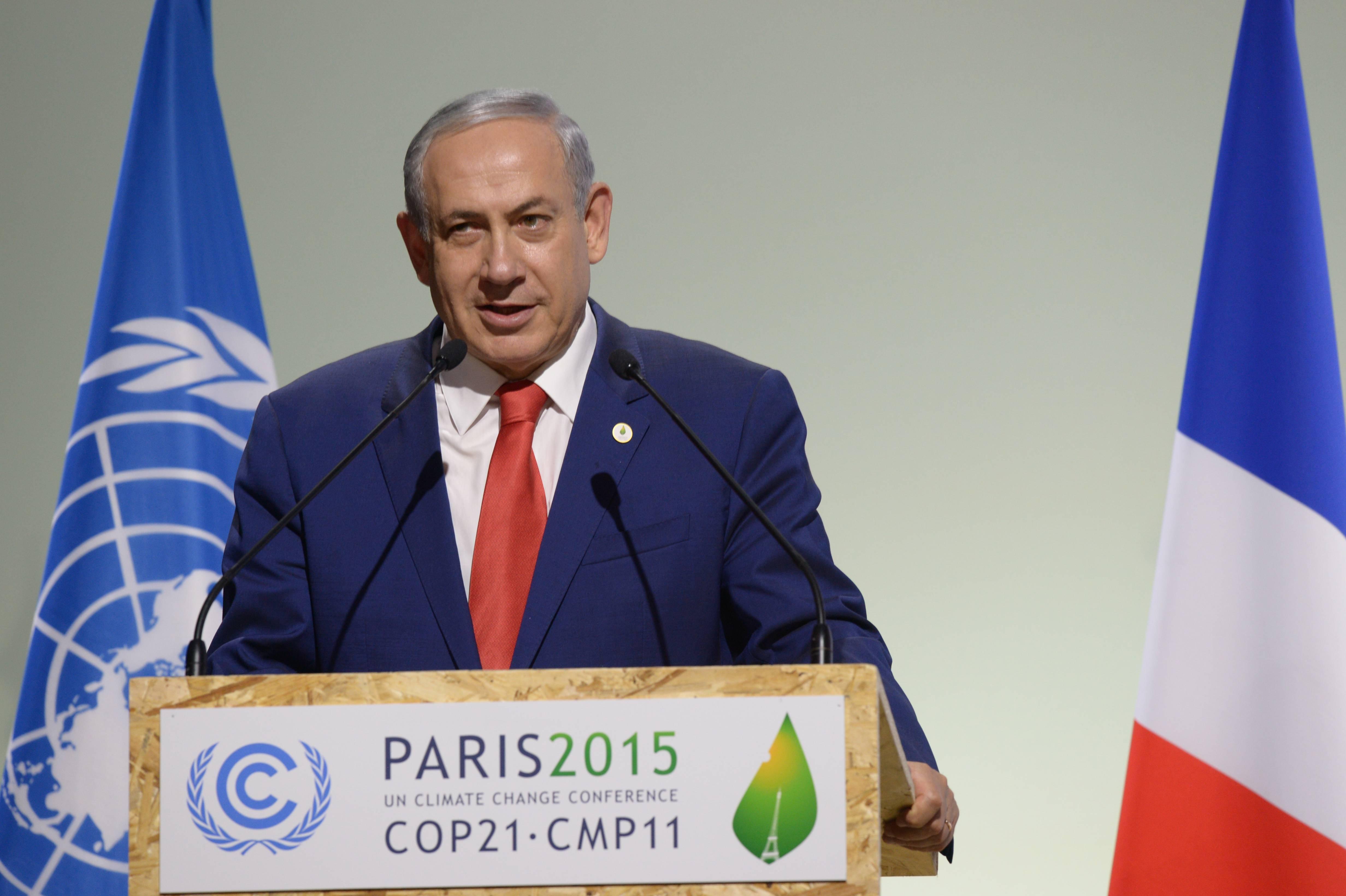 """ראש הממשלה, בנימין נתניהו, בוועידת האקלים של האו""""ם בפריז ב-2015 (עמוס בן גרשום/GPO)"""