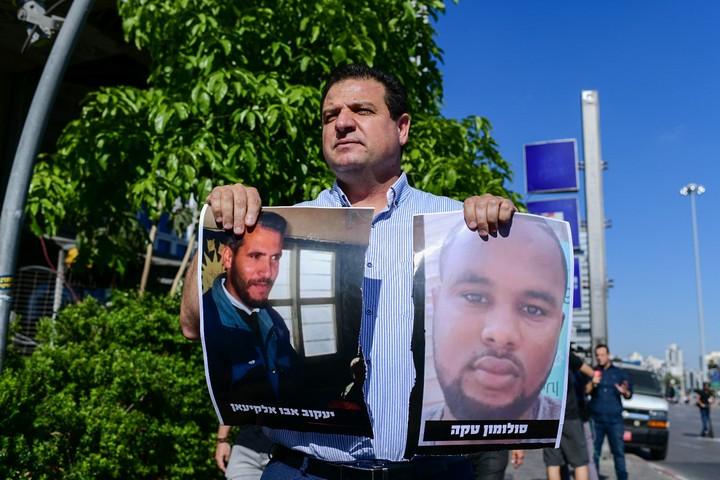 איימן עודה בהפגנת יוצאי אתיופיה נגד אלימות משטרתית (תומר נויברג / פלאש90)