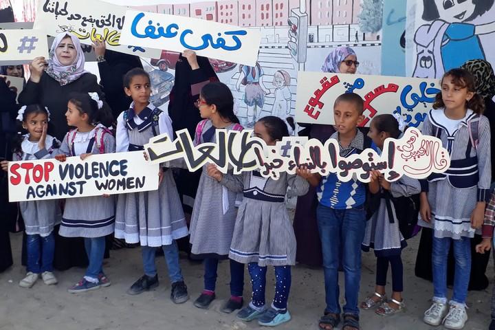 הפגנה נגד אלימות נגד נשים ברפיח, 26 באוקטובר 2019 (אמאני מוהנא, המרכז לתוכניות לנשים ברפיח)