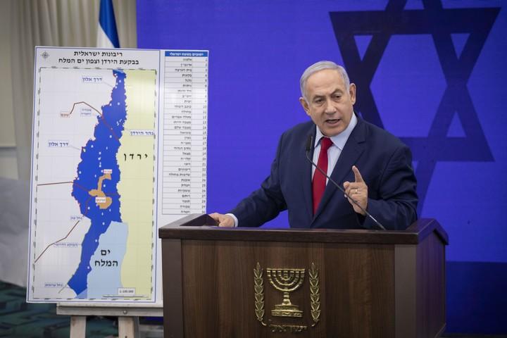 ראש הממשלה, בנימין נתניהו, במסיבת עיתונאים על סיפוח בקעת הירדן, 10 בספטמבר 2019 (צילום: הדס פארוש/פלאש90)