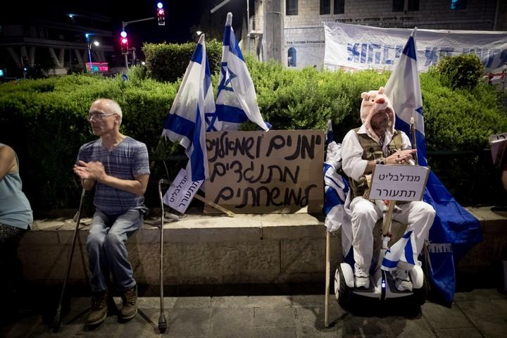 הפגנה נגד השחיתות הממשלתית בירושלים, ב-26 באוגוסט 2017 (צילום: יונתן זינדל / פלאש90)