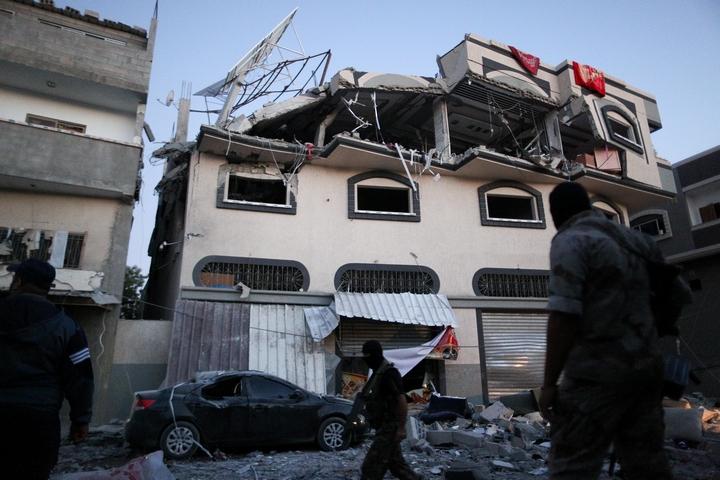 ביתו של מנהיג הג'יהאד האסלאמי הפלסטיני אבו אל-עטא, אחרי שנפגע מתקיפה הישראלית ב-12 בנובמבר 2019 (צילום: ג'די / פלאש90)