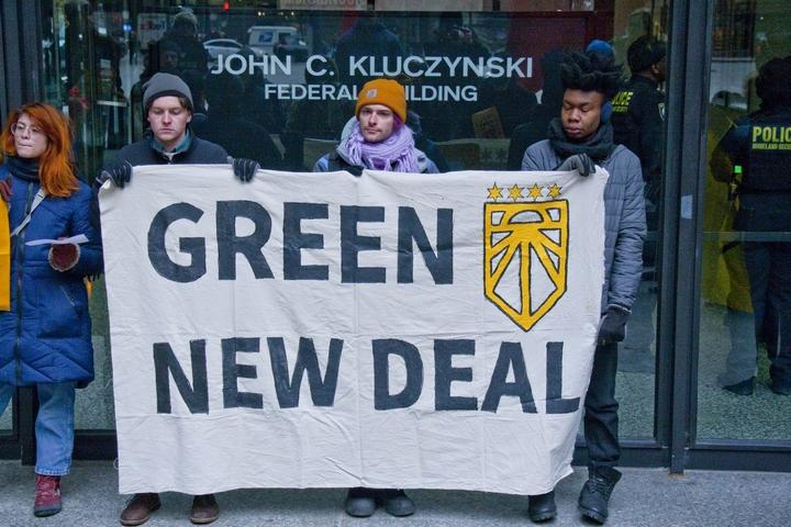 """מפגינים בעד ה""""עסקה הירוקה החדשה"""" בשיקגו בפברואר 2019 (צילום: Charles Edward Miller)"""