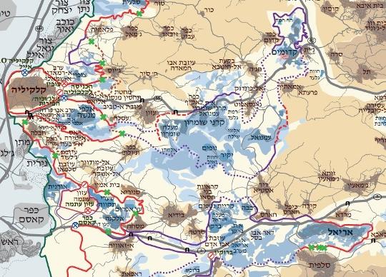 אצבעות אריאל וקדומים מתפרשות מזרחה (מפה: בצלם)