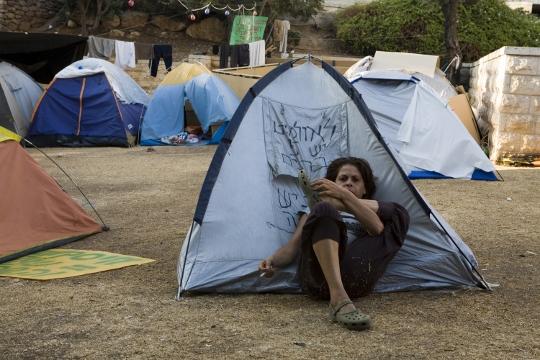 לא היחידים שלא מצליחים למצוא דירה. מאהל מחאה של הדיור הציבורי, ירושלים 2007 (אקטיבסטילס)