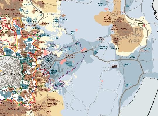 האצבע של מישור אדומים מבתרת את הגדה (מפה: בצלם)