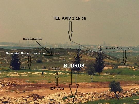 מבט מבית הקברות של בודרוס לעבר תל אביב (צילום ואינפוגרפיקה: רות אדמונדס)