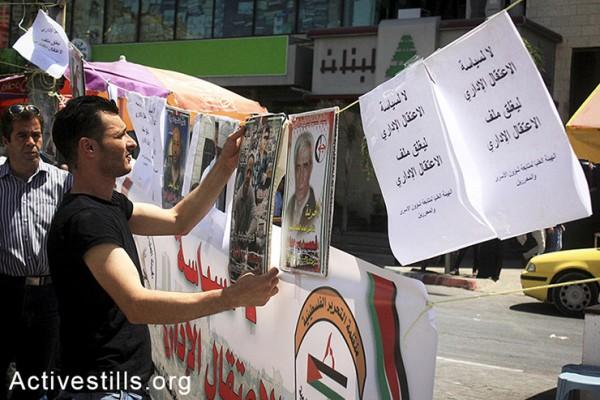 פלסטיני תולה תמונות של אסירים התלויות בתוך אוהל מחאה שהוקם בסולידריות עם עצירים מנהליים שובתי רעב, שכם, הגדה המערבית, ה-28 לאפריל, 2014. (אחמד אל-באז/אקטיבסטילס)