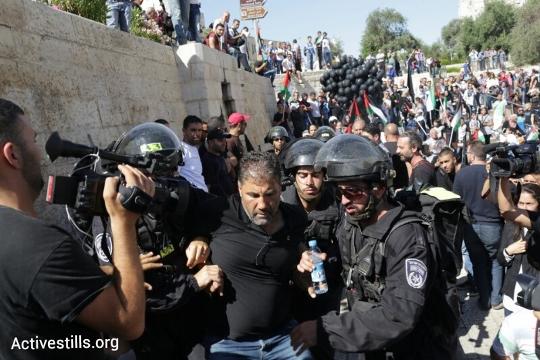 מפגין מעוכב בהפגנת יום הנכבה במזרח ירושלים (אורן זיו / אקטיבסטילס)