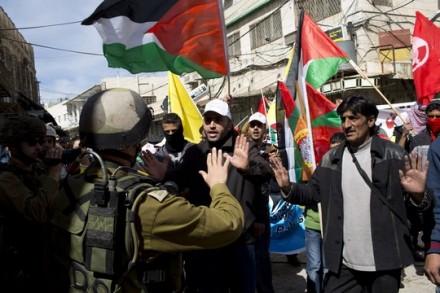 הפגנה לפתיחת רחוב השוהדא בחברון (צילום: אקטיבסטילס)