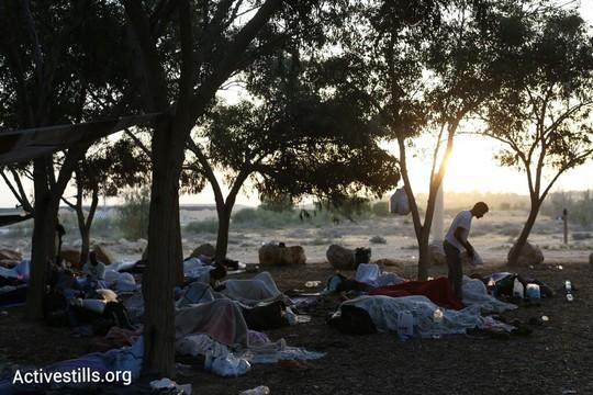 מחאת מבקשי המקלט. בוקר יום ראשון במאהל ניצנה (אורן זיו / אקטיבסטילס)
