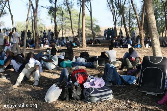 מבקשי המקלט ביער ניצנה. המוחים יצאו לצעדה כשציודם איתם מתוך מטרה לא לשוב לחולות (צילום: אורן זיו/אקטיבסטילס)