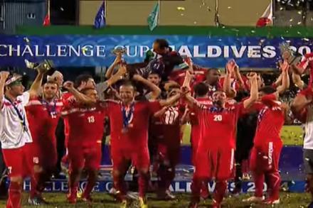 נבחרת פלסטין מקבלת את כרטיס הכניסה לגביע אסיה (צילום מסך AFC)