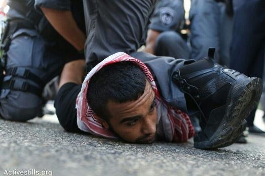 שוטרים עוצרים מפגין בחיפה (אורן זיו / אקטיבסטילס)