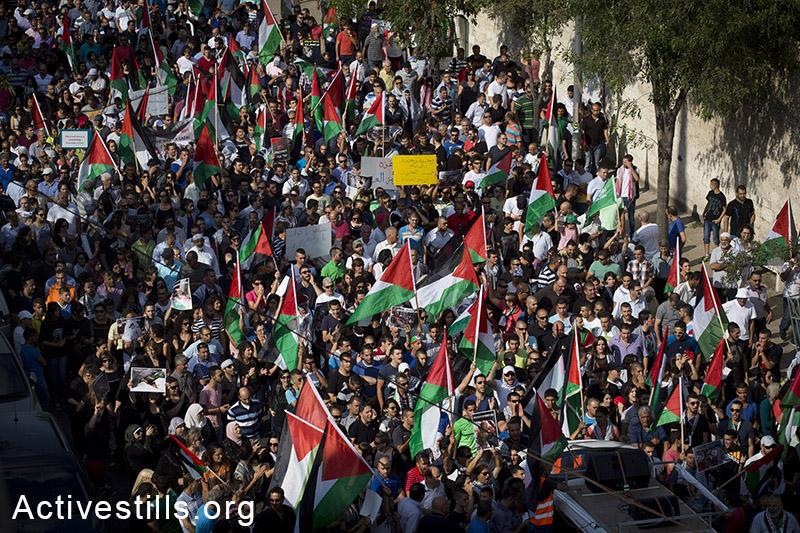 מעל שלושת אלפים פלסטינים תושבי ישראל השתתפו בהפגנה נגד המתקפה על עזה בעיר נצרת, ה-21 ליולי, 2014. המשטרה פיזרה את ההפגנה ועצרה מעל 15 מפגינים. (אורן זיו/אקטיבסטילס)