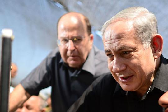 """יעלון ונתניהו. מדינה פלסטינית או אוטונמיה? (צילום: קובי גדעון / לע""""מ)"""