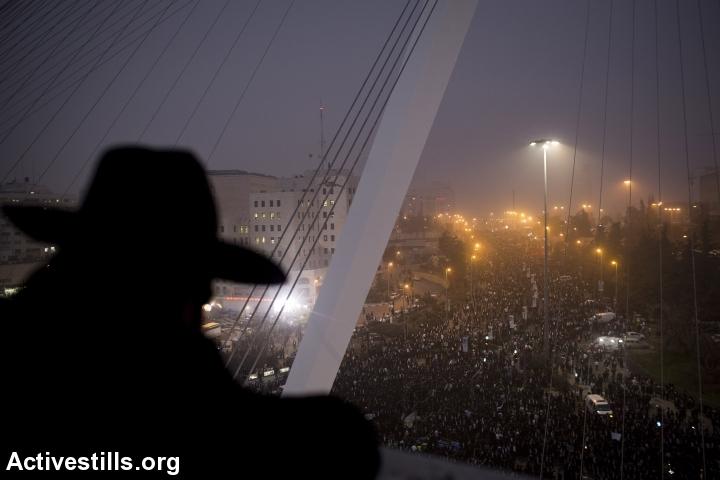 הפגנת חרדים נגד הגיוס, ירושלים, מרץ 2014 (אורן זיו / אקטיבסטילס)