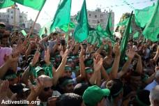 הפגנת תמיכה בחמאס בסוף צוק איתן, שכם (אחמד אל-באז / אקטיבסטילס)