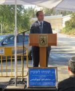 ראש עיריית ירושלים ניר ברקת בטקס. טשטש בגסות את עמדותיו הפוליטיות של ליבוביץ.  (צילום: רענן שמש-פורשנר)