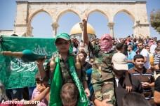 הפגנת תמיכה בחמאס על הר הבית (פאיז אבו-רמלה / אקטיבסטילס)
