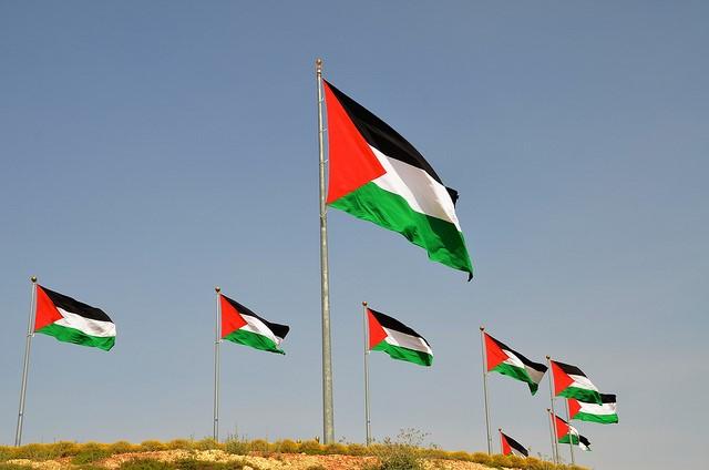 גדול יותר מהדגל בעקבה? דגלי פלסטין בכניסה למרכז המבקרים (CC BY-NC 2.0  scottgun)