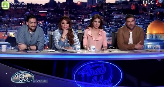 השופטים צילום מסך מתוך תוכנית הטלוויזיה ערב איידול, רשת MBC.